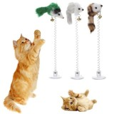3 PCS Funny Cat Toys Elastic Feather False Mouse Bottom Sucker Toys for Cat Kitten Playing Pet Seat Scratch Toy Pet Cat Product (Random Color)