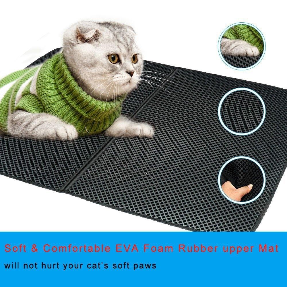 Waterproof Pet Cat Litter Mat EVA Double Layer Cat Litter Trapping Pets Mat Pad Bottom Non-slip Pet Litter Cat Mat, Size: M (Black)