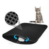 Waterproof Pet Cat Litter Mat EVA Double Layer Cat Litter Trapping Pets Mat Pad Bottom Non-slip Pet Litter Cat Mat, Size: XS (Black)