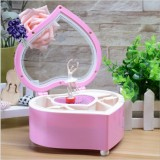 Heart Shape Dancing Ballerina Music Box Plastic Jewellery Box Girls Carousel Hand Crank Gift (Pink)