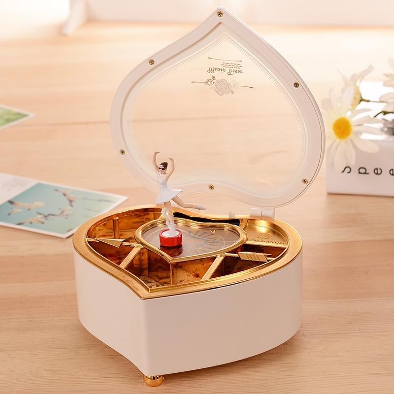 Heart Shape Dancing Ballerina Music Box Plastic Jewellery Box Girls Carousel Hand Crank Gift (Pink)