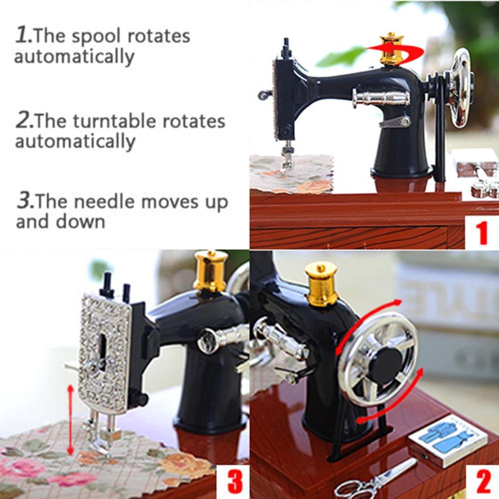 Mini Plastic Vintage Music Box Sewing Machine Style Mechanical Birthday Gift Table Decor