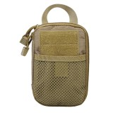 1000D Nylon Tactical Bag Outdoor Waist Fanny Pack Mobile Phone Key Mini Tools Waterproof Sport Pouch (Tan)