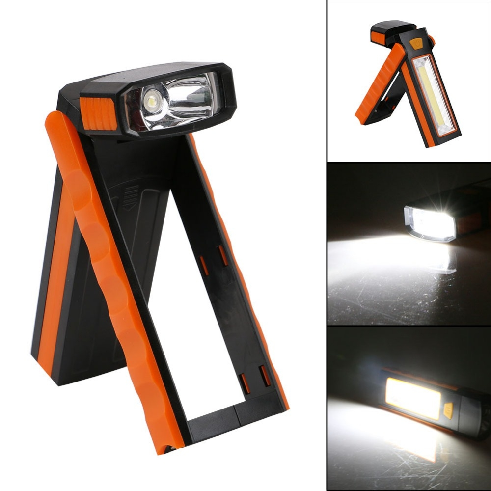 3W Adjustable Bright Magnet COB LED Work Light Inspection Hand Torch Magnetic Camping Tent Lantern Lamp with Hook (Blue)