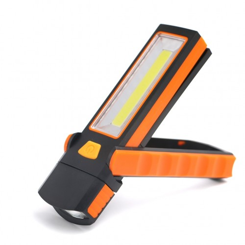 3W Adjustable Bright Magnet COB LED Work Light Inspection Hand Torch Magnetic Camping Tent Lantern Lamp with Hook (Red)