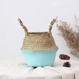 2 PCS Seagrass Knitting Desktop Storage Basket Wicker Flower Pot Folding Basket, Size: 20x17x15cm (Blue)