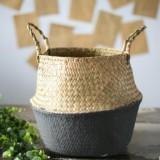 2 PCS Seagrass Knitting Desktop Storage Basket Wicker Flower Pot Folding Basket, Size: 20x17x15cm (Black)