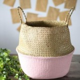 2 PCS Seagrass Knitting Desktop Storage Basket Wicker Flower Pot Folding Basket, Size: 20x17x15cm (Pink)