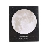 2 PCS Creative Planet Series Post-it notes Round Tearable Notes Small Book Office Note N Times Post (Black and White Moon)