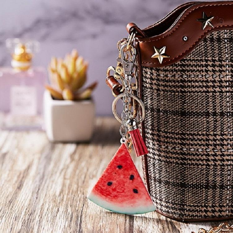 Creative Gift Fruit Charm Series Tassel Keychain Bag Pendant, Style: Orange
