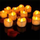 12 PCS/Box LED Candle Electronic Tea Wax Simulation Tears Electronic Candle Light Wedding Decoration Candle Light (Yellow Flash)