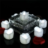 12 PCS/Box LED Candle Electronic Tea Wax Simulation Tears Electronic Candle Light Wedding Decoration Candle Light (Cold White)