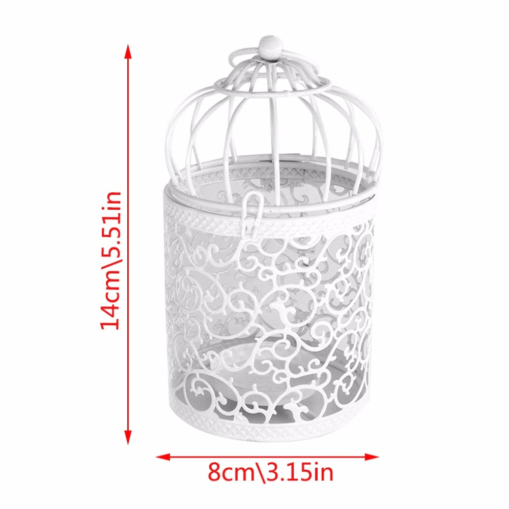 Antique Creative Bird Cage Candlestick Wrought Iron Ornaments Hollow Flower Pattern Home Decoration Crafts (E)