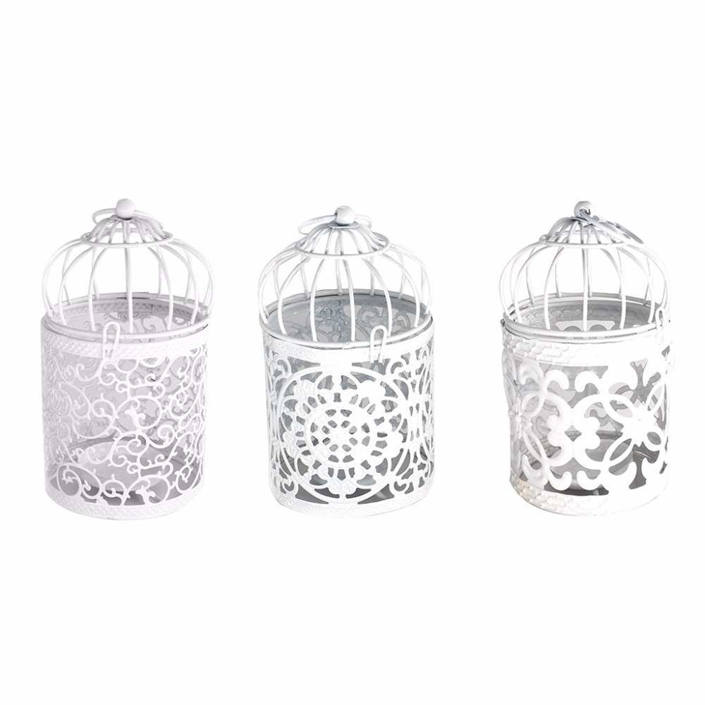 Antique Creative Bird Cage Candlestick Wrought Iron Ornaments Hollow Flower Pattern Home Decoration Crafts (A)