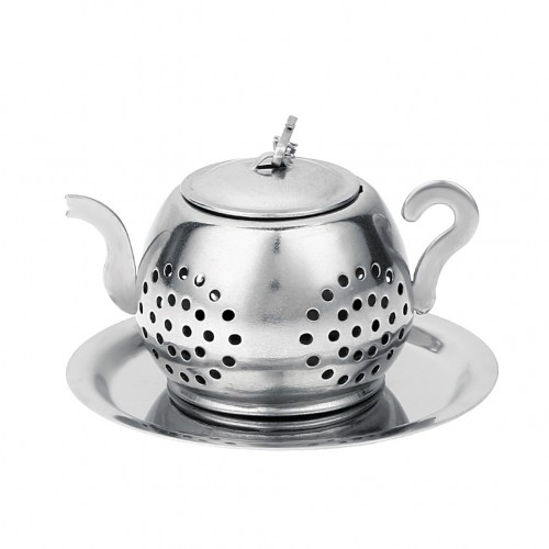2 PCS Stainless Steel 304 Round Pot Tea Strainer Teapot-Shaped Tea Maker Tea Leak Filter Tea Ball (Stainless steel round teapot)
