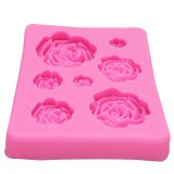 2 PCS DIY Handmade Soap Chocolate Fondant Baking Mold 3D Rose Flower Cake Decoration Silicone Mold (Pink)