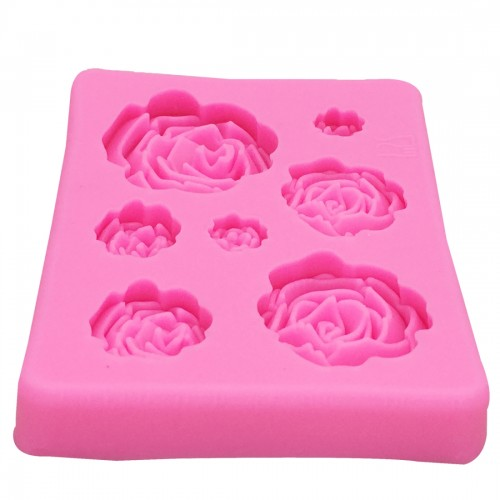 2 PCS DIY Handmade Soap Chocolate Fondant Baking Mold 3D Rose Flower Cake Decoration Silicone Mold (Pink)