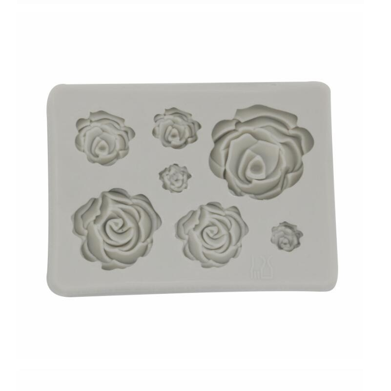 2 PCS DIY Handmade Soap Chocolate Fondant Baking Mold 3D Rose Flower Cake Decoration Silicone Mold (Gray)