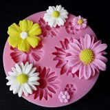 2 PCS 3D Flower Silicone Molds Fondant Craft Cake Candy Chocolate Ice Pastry Baking Tool (Pink)