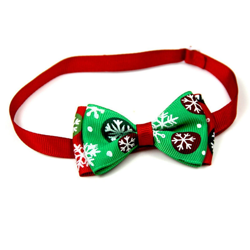 5 PCS Christmas Holiday Pet Cat Dog Collar Bow Tie Adjustable Neck Strap Cat Dog Grooming Accessories Pet Product (1)