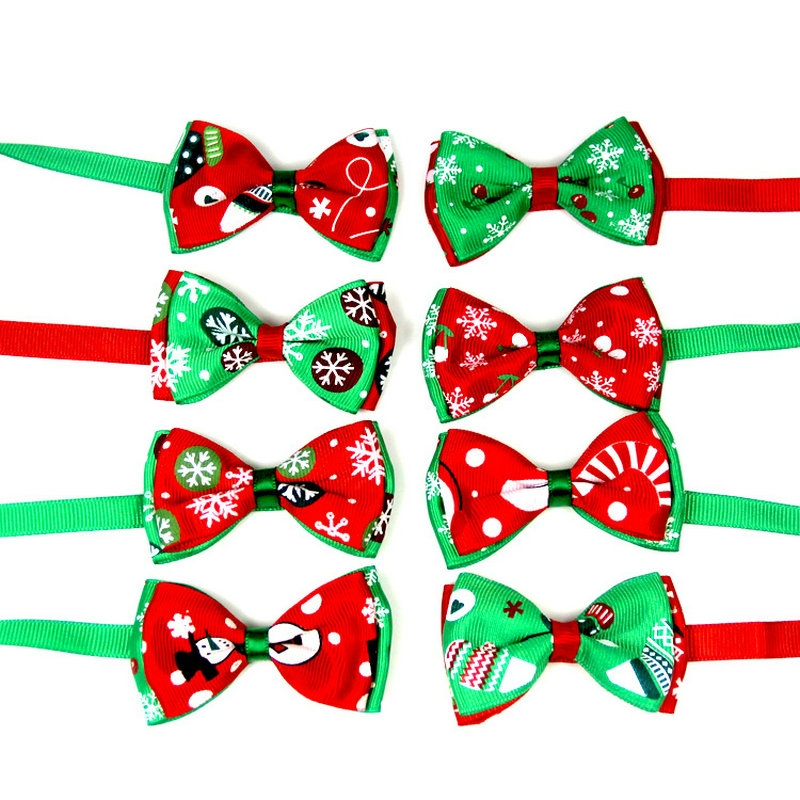 5 PCS Christmas Holiday Pet Cat Dog Collar Bow Tie Adjustable Neck Strap Cat Dog Grooming Accessories Pet Product (3)
