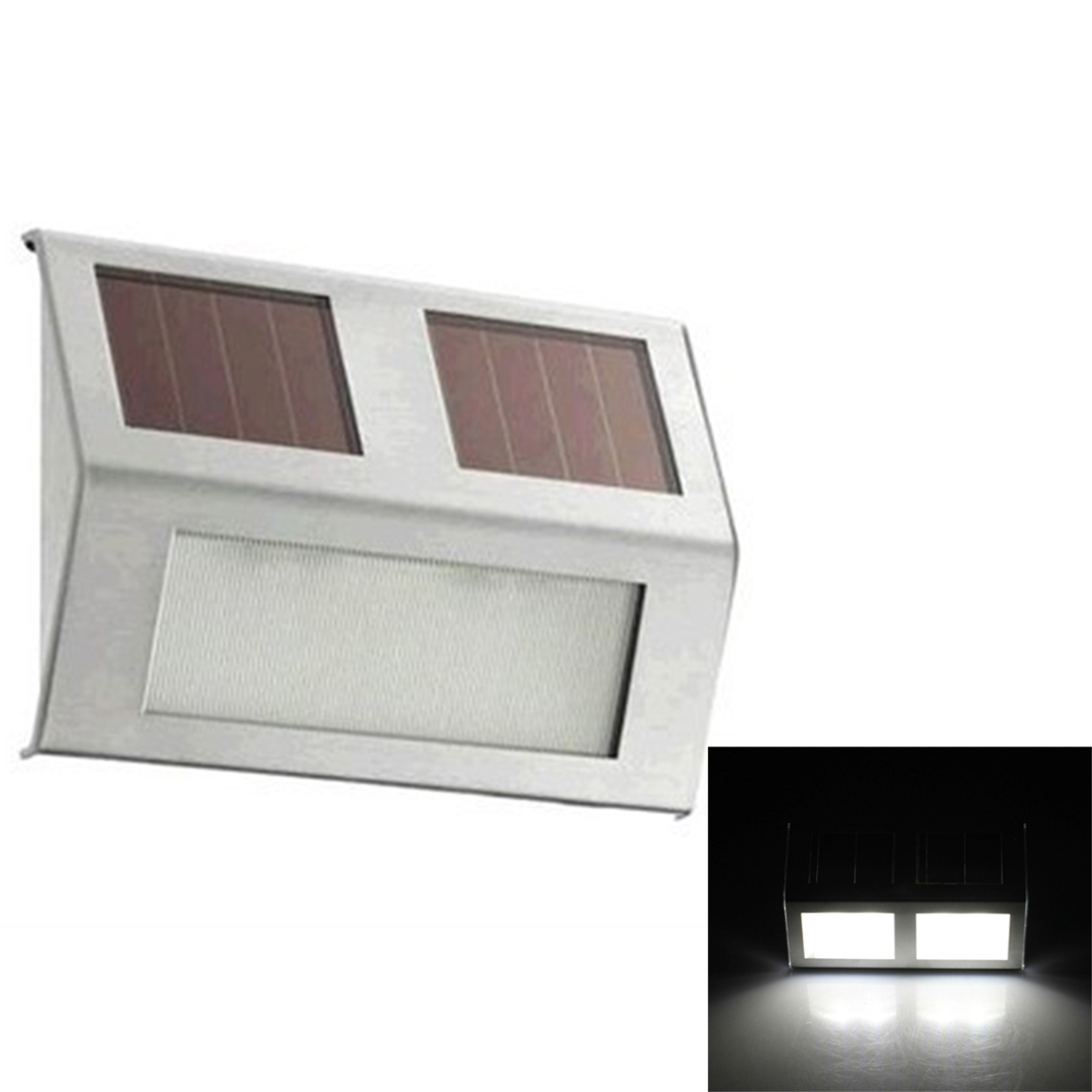 2 LEDs Solar Powered Light Sensor Control IP44 Waterproof LED Wall Lamp Outdoor Patio Yard Pathway Garden Stairs Step Night Security Lighting (White Light)