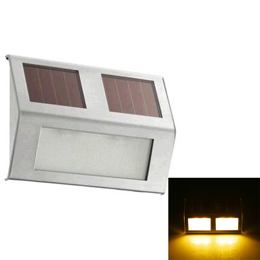 2 LEDs Solar Powered Light Sensor Control IP44 Waterproof LED Wall Lamp Outdoor Patio Yard Pathway Garden Stairs Step Night Security Lighting (Warm Light)