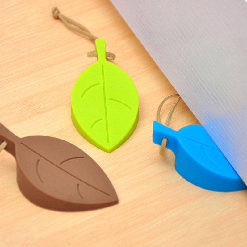 2 PCS Creative Leaf Silicone Door Stop Child Anti-pinch Security Door Crash Pad (Coffee)