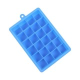 24 Grids Silicone Ice Cube Tray Molds Square Shape Ice Cube Maker Fruit Popsicle Ice Cream Mold (Dark blue)