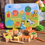 Wooden Toys Baby DIY Toy Cartoon Fruit Animal Stringing Threading Wooden Beads Toy (Animal)