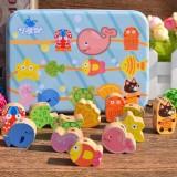 Wooden Toys Baby DIY Toy Cartoon Fruit Animal Stringing Threading Wooden Beads Toy (Sea Animal)