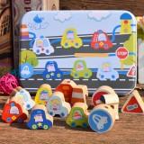 Wooden Toys Baby DIY Toy Cartoon Fruit Animal Stringing Threading Wooden Beads Toy (Transportation)
