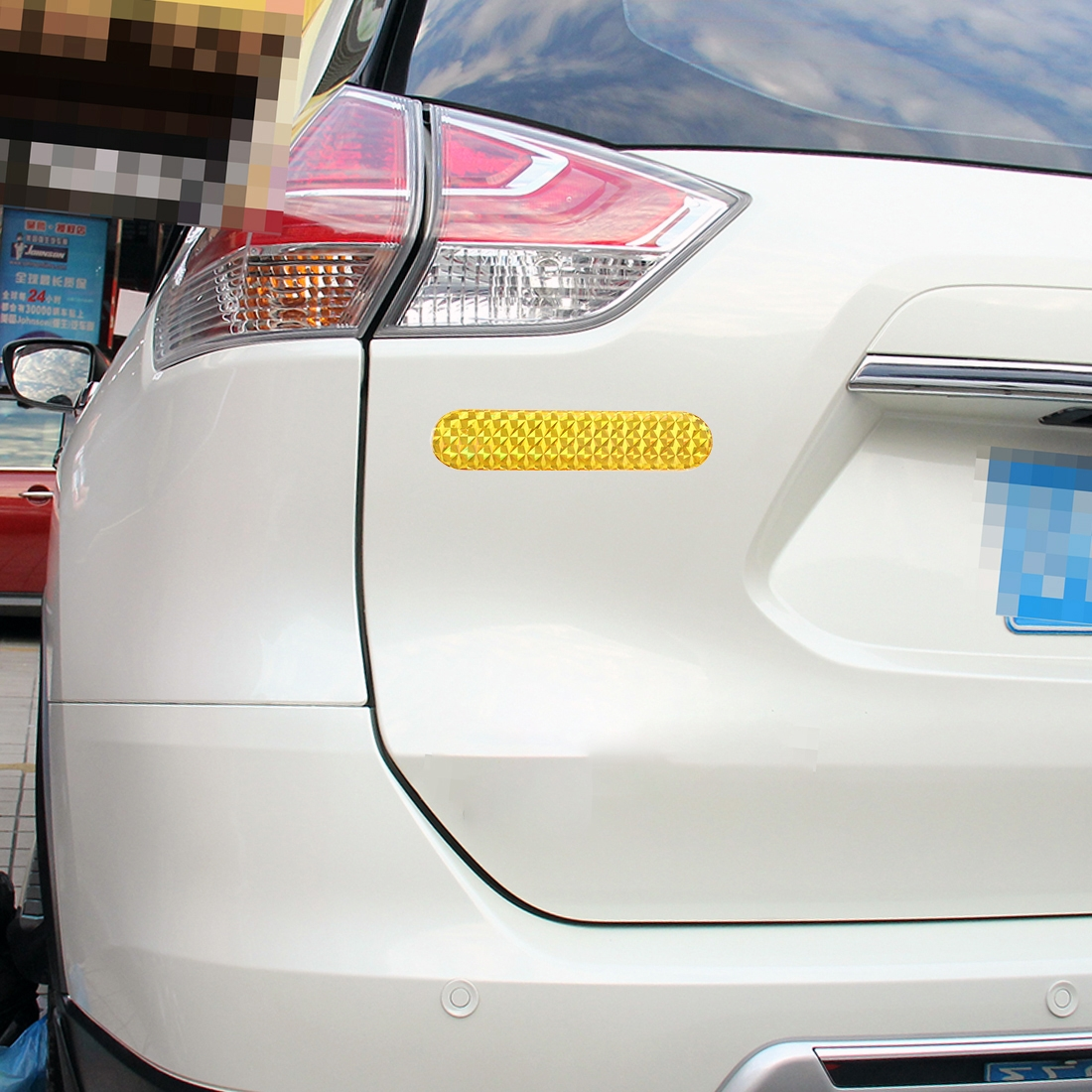2 PCS High-brightness Laser Reflective Strip Warning Tape Decal Car Reflective Stickers Safety Mark (Yellow)