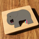 Kids Wooden Toys Cartoon Animal 3D Jigsaw Puzzle Child Early Educational Aids (Elephant)