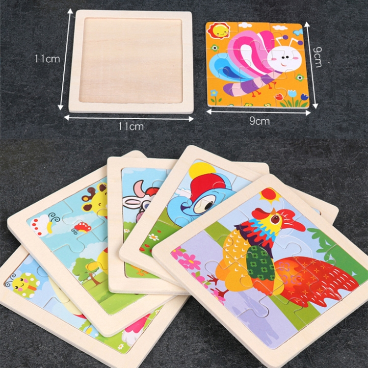 3 PCS Kids Wooden Cartoon Puzzle Jigsaw Toy Early Educational Toys (Beetle)