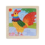 3 PCS Kids Wooden Cartoon Puzzle Jigsaw Toy Early Educational Toys (Cock)