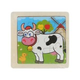 3 PCS Kids Wooden Cartoon Puzzle Jigsaw Toy Early Educational Toys (Cattle)