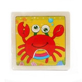 3 PCS Kids Wooden Cartoon Puzzle Jigsaw Toy Early Educational Toys (Crab)