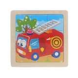 3 PCS Kids Wooden Cartoon Puzzle Jigsaw Toy Early Educational Toys (Fire Engine)