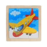 3 PCS Kids Wooden Cartoon Puzzle Jigsaw Toy Early Educational Toys (Plane)