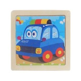 3 PCS Kids Wooden Cartoon Puzzle Jigsaw Toy Early Educational Toys (Police Car)