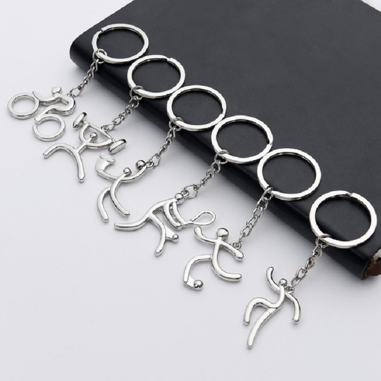 3 PCS Creative Metal Sport Shape Keychain Bag Pendant Small Gift, Style: Bicycle (Bright Nickel)