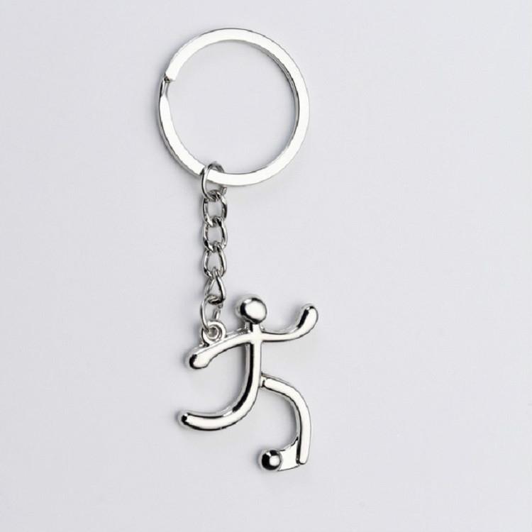 3 PCS Creative Metal Sport Shape Keychain Bag Pendant Small Gift, Style: Football (Bright Nickel)