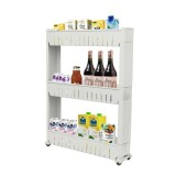 Multipurpose Bathroom Storage Rack Shelf Multi-layer Refrigerator Side Shelf with Removable Wheels (Three Layer White)