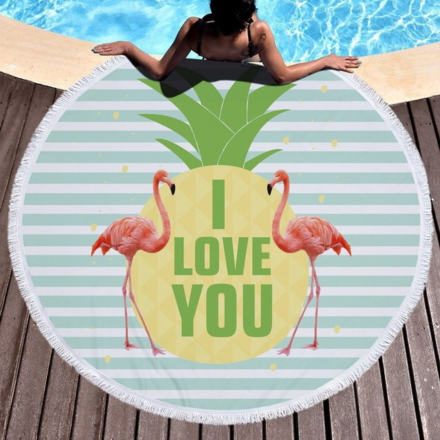 Printed Round Beach Towel Yoga Mat with Tassel, Size: 150x150cm (Flamingo + Letters)