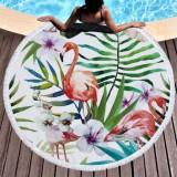 Printed Round Beach Towel Yoga Mat with Tassel, Size: 150x150cm (Flamingo + Flower)