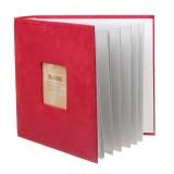 N55078 7 inch 50 Pages for 200 PCS Photos Velvet Face Album Insert Type Album Storage Book (Red)
