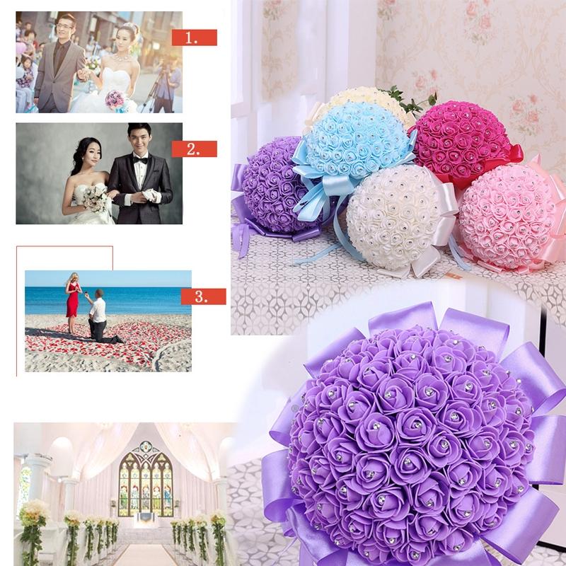 Bride Holding Bouquet Creative Simulation Holding Bouquet Wedding Supplies (Blue)
