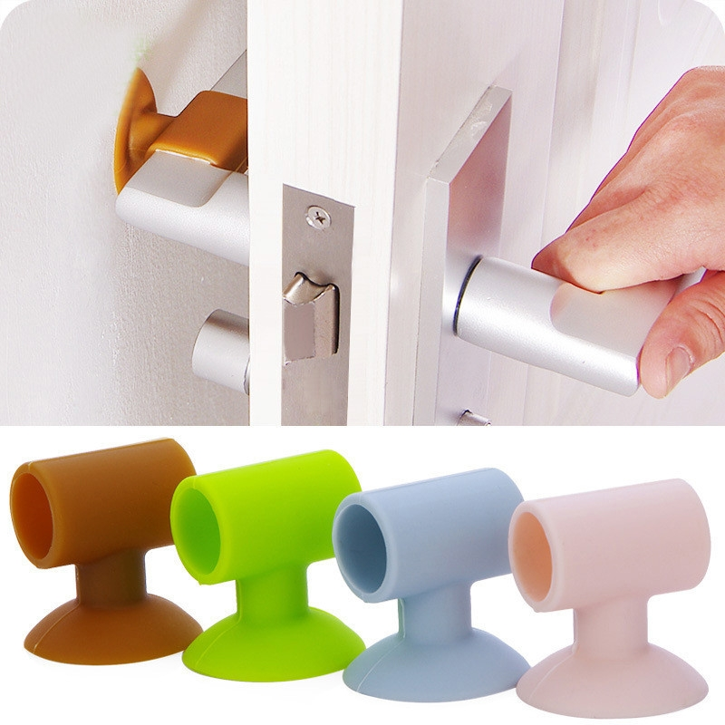 3 PCS Mute Crash Pad Cushion Cabinet Door Handle Lock Silicone Anti-collision House Door Stopper (Plain Green)