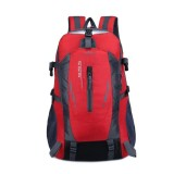 Large-capacity Travel Mountaineering Bag Men and Women Outdoor Sports Leisure Nylon Waterproof Backpack (Red)